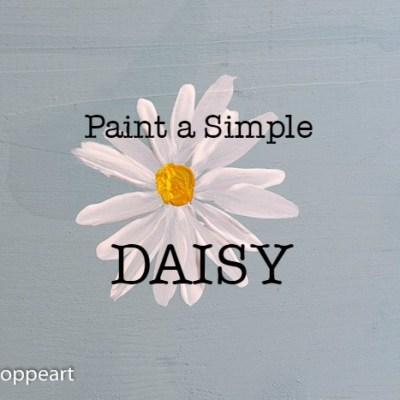 hand painted daisy with text overlay, paint a simple daisy, pamela groppe art