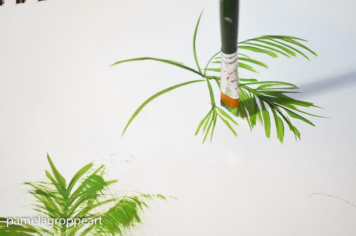 Painting palm tree fronds, one stroke, pamela groppe art