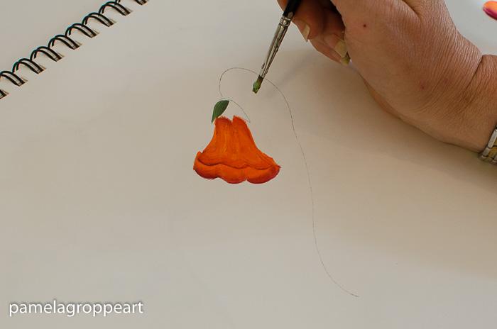 Paint a calyx on trumpet vine flower, pamela groppe art