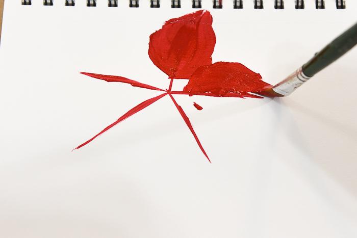 Painting red petals, pamelagroppe.com