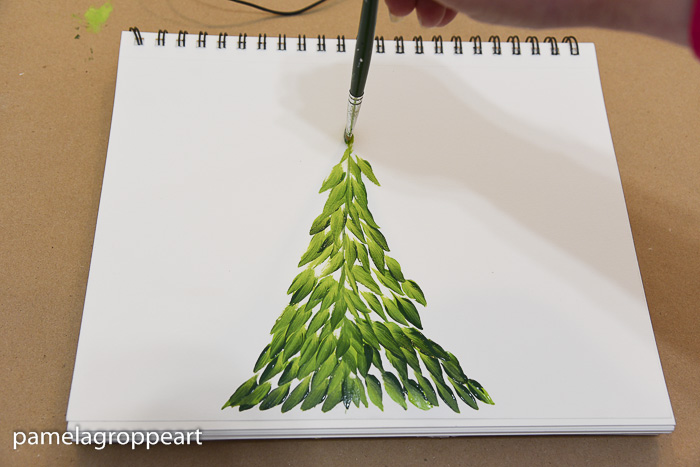 Painting an easy fun fir tree one stroke at a time, pamelagroppe.com