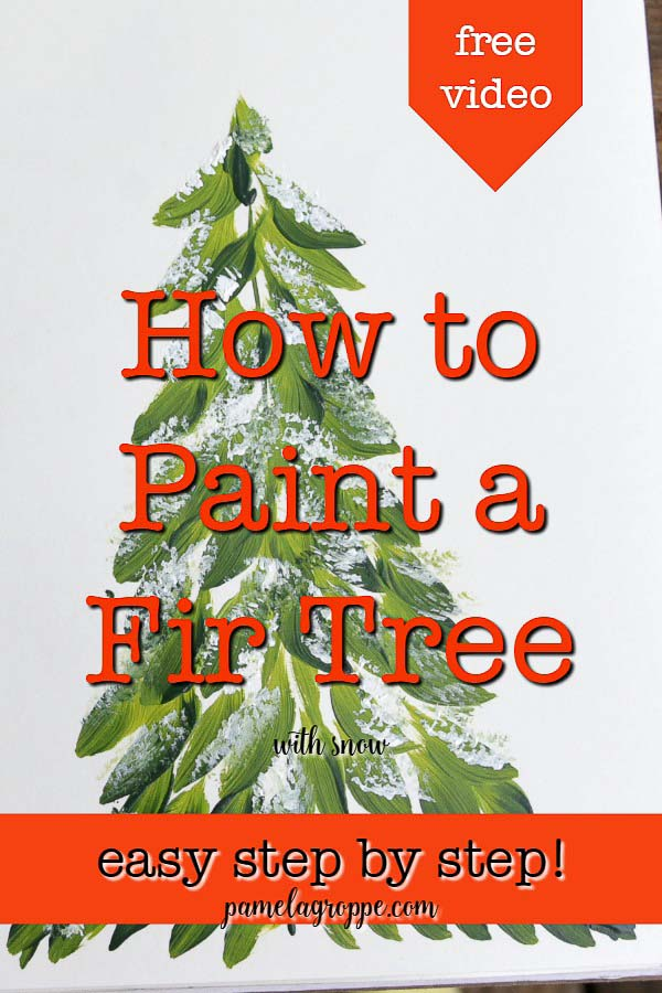 Fir tree painted with text overlay