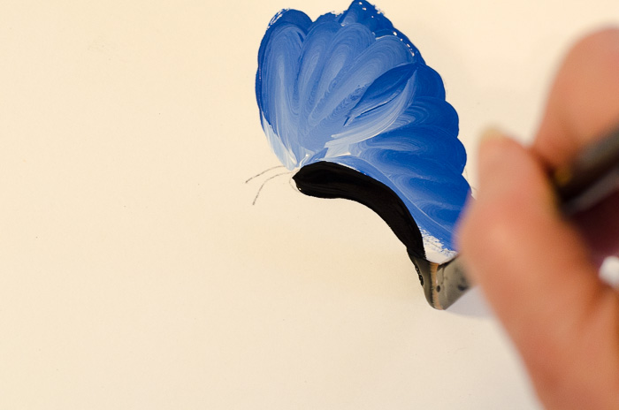 Painting body on blue butterfly in acrylics, pamelagroppe.com