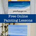seascapes painted on wood with text overlay, pamelagroppe.com