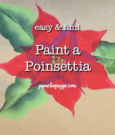 Red poinsettia painted on brown paper with text overlay, pamelagroppe.com