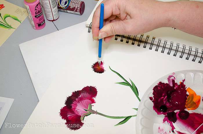 painting a carnation with round brush, pamelagroppe.com