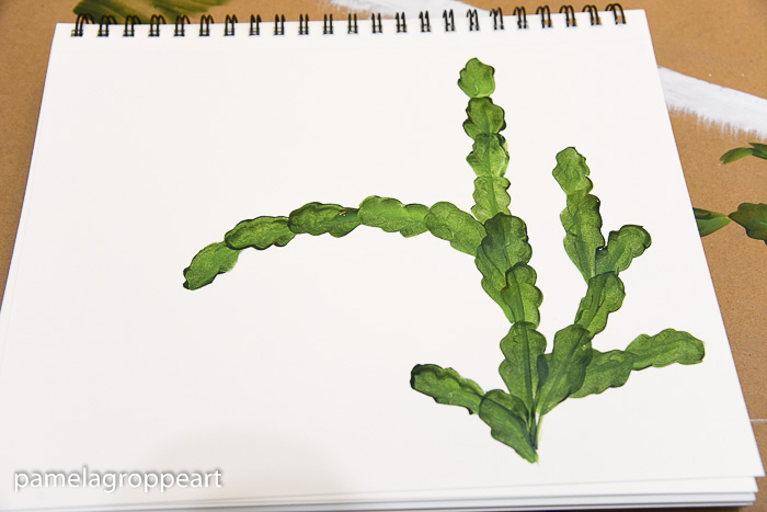 Painted leaves of Christmas Cactus, pamelagroppe.com