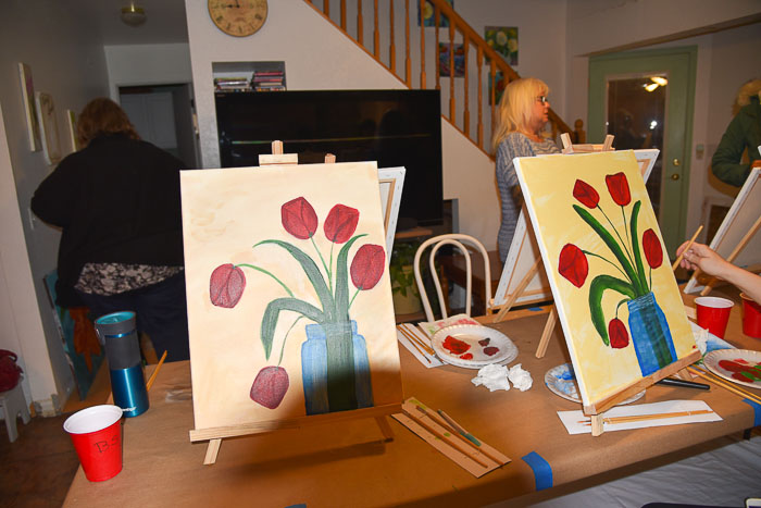 paint party pamela groppe art red tulips