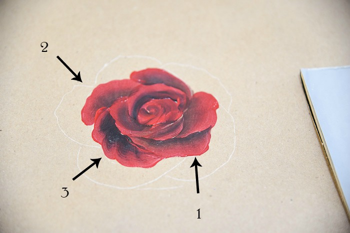 Painting on the center petals painting a red rose, pamelagroppe.com