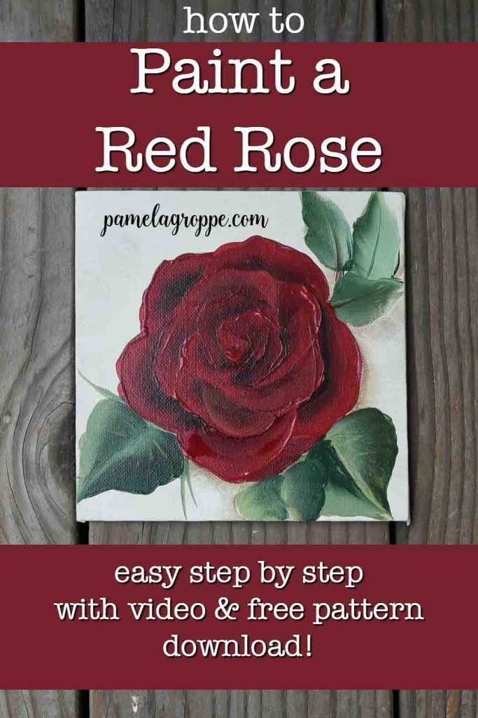 Painted red roses with text overlay, How to Paint a Red Rose, easy step by step with free video, pamelagroppe.com