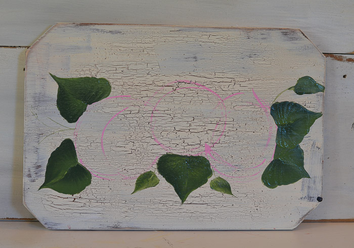 Leaves added to hydrangea painting on wood