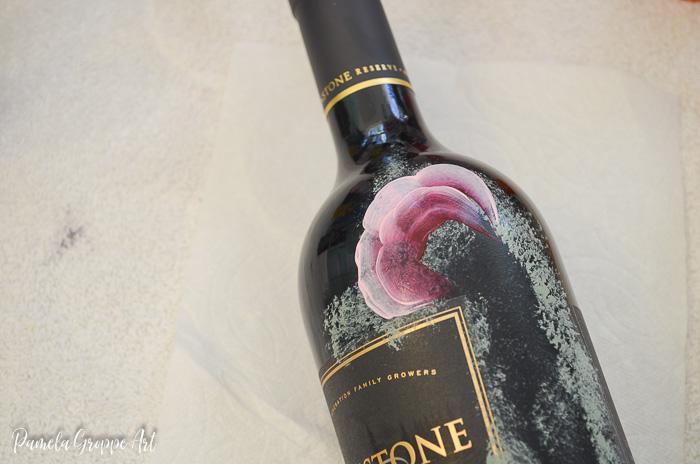 Beginning of painting pink rose on glass wine bottle, Pamela Groppe Art