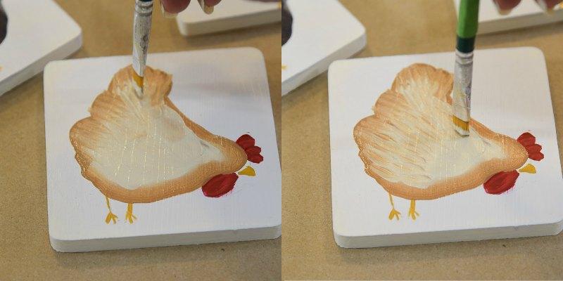 painting chicken feathers on hen body, pamela groppe art