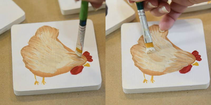 painting a chicken in acrylic paint, pamela groppe art