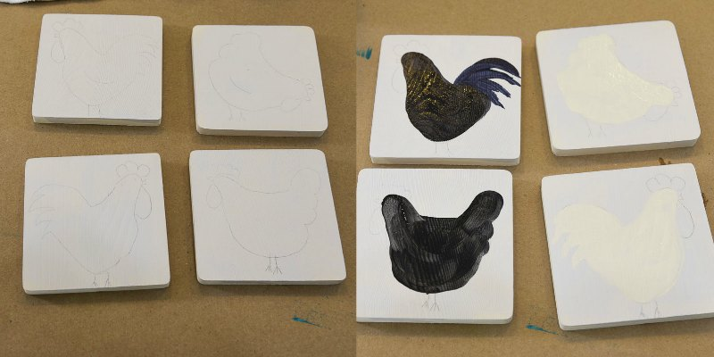 base painted chicken pattern on wood coasters, pamela groppe art