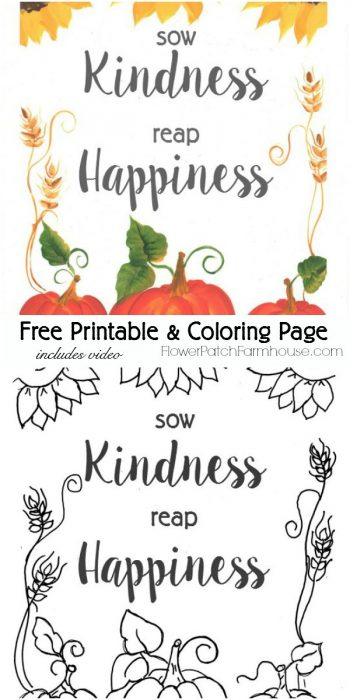 Printable Fall coloring page, colored and blank, pamela groppe dot com
