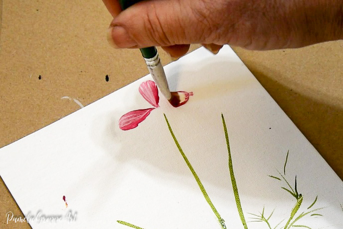 painting cosmos petals with a filbert brush one stroke