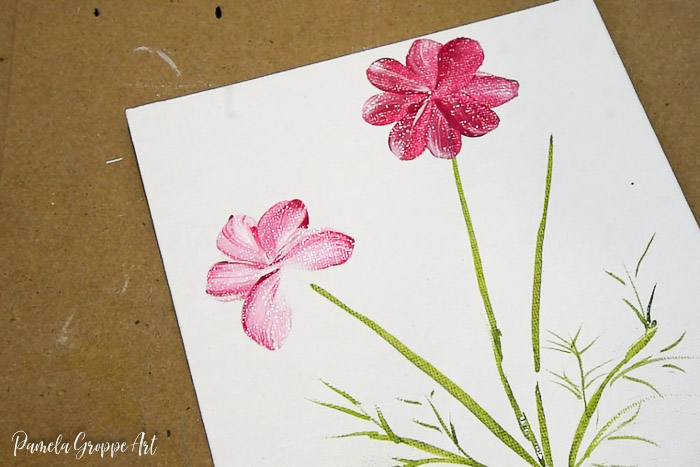 Paint lighter colored Cosmos flower