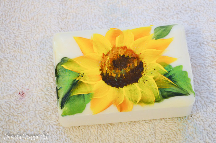 paint sunflowers on soap