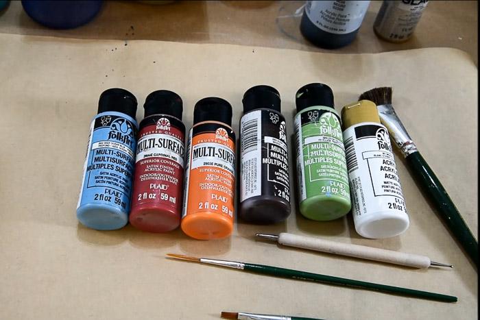 folk art paint colors for easy paint a snowman