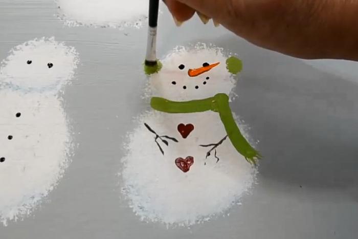 snowman earmuff painting lesson