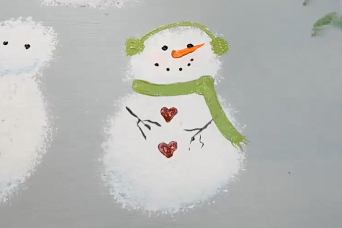 finished painting of snowman