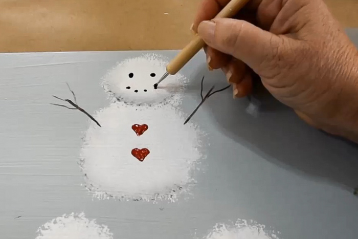 easy paint snowman in acrylics mouth