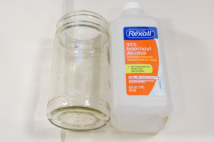 rubbing alcohol next to glass jar, how to frost glass, pamela groppe art