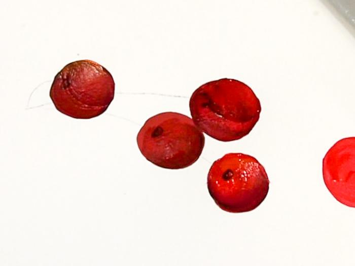 add divet for stem, how to paint cherries, pamela groppe art