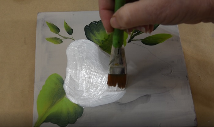 Paint a pear base coat in white
