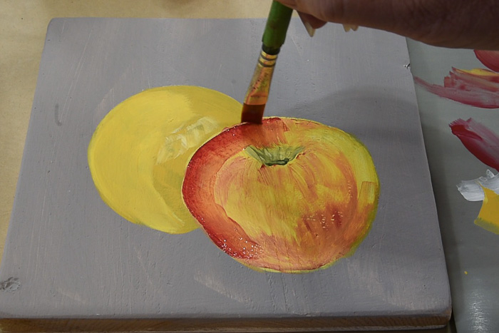 adding a glaze of color to fruit painting, pamela groppe art