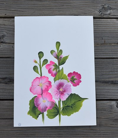 How to paint hollyhocks in acrylics, Pamela Groppe Art