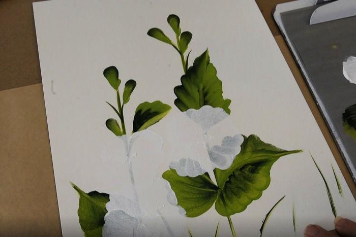 white undercoat to paint hollyhocks, pamela groppe art