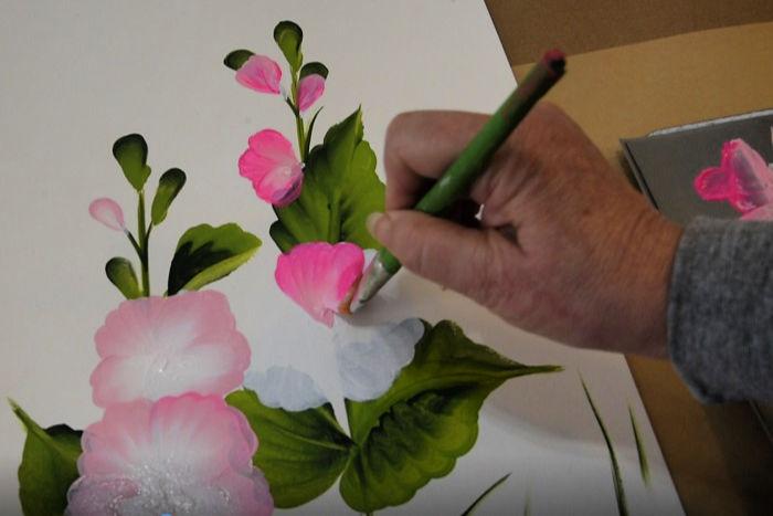painting a hollyhock petal, pamela groppe art