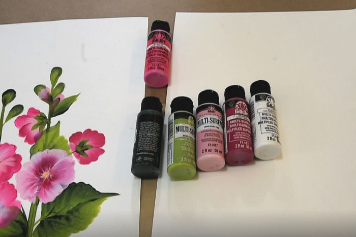 Paint colors for Hollyhock painting lesson