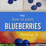 blueberries in painting stages with text overlay, how to paint blueberries, pamela groppe art