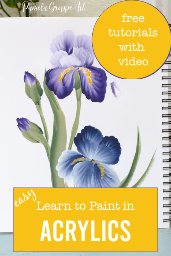 Acrylic Iris painting with text overlay, easy learn to paint in Acrylics, with video