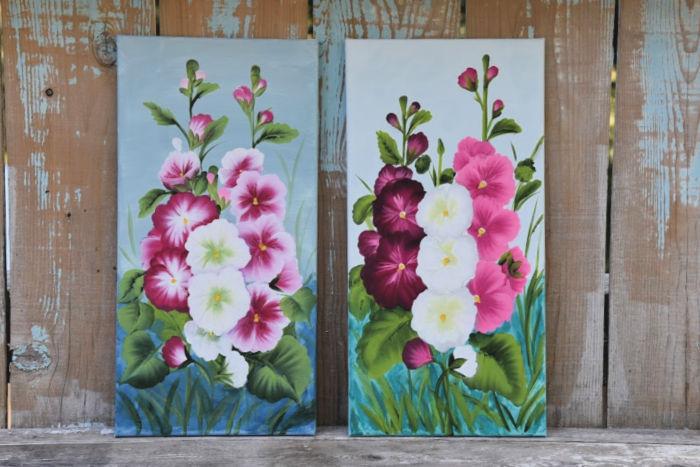 Hollyhock canvas paintings