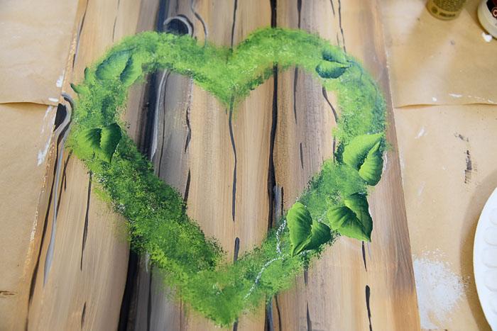 paint leaves on heart wreath