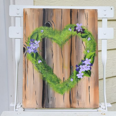 Painted mossy heart wreath with violets, pamela groppe art