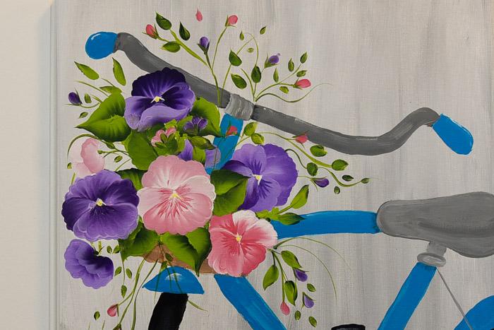 painted pansies in bicycle basket, acrylics