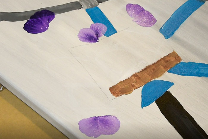 back petals of pansies painted