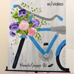 Bicycle painting with pansies, Spring acrylic painting tutorial