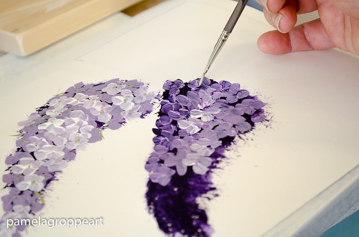 Add centers to lilac flowers, paint lilacs in acrylics