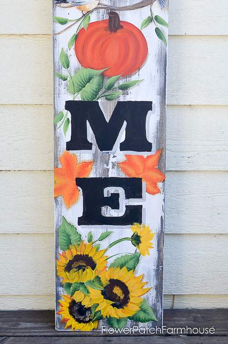 Sunflowers and Autumn leaves on DIY Autumn Welcome sign