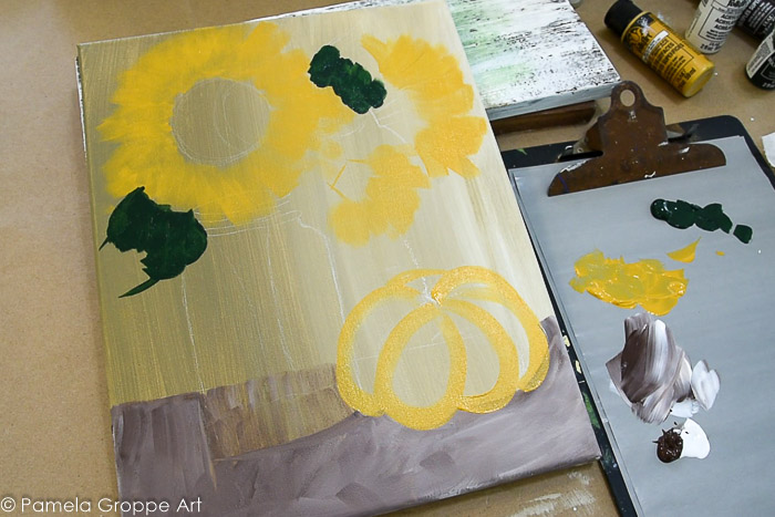 Get in basic shapes of elements in the Sunflower, Mason Jar and Pumpkin painting tutorial