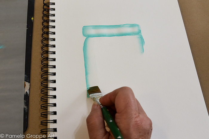 Paint side of jar with aqua loaded brush