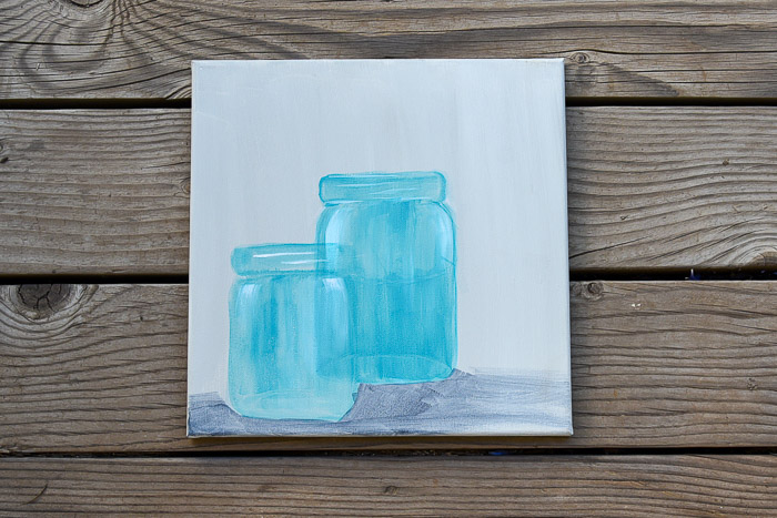 mason jars painted in acrylics