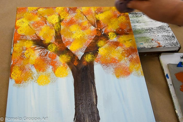 add more yellows to tree foliage