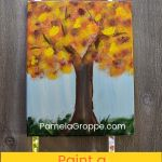 Fall Tree painting with text overlay, step by step free beginner tutorial, Paint a Fall Tree, pamela groppe art